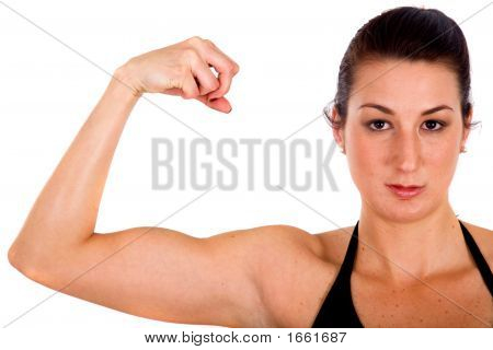 Fitness Girl Showing Her Biceps