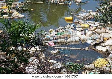 a photo of rubbish in a river