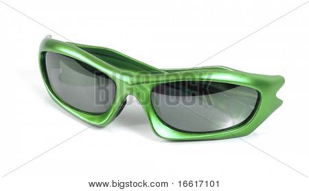 isolated green sunglasses