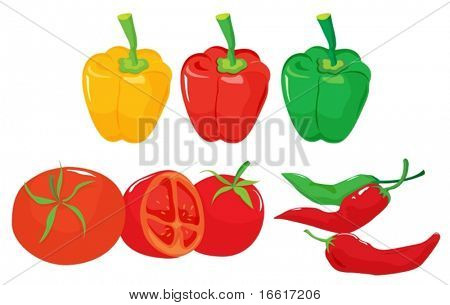 an illustration of different fruit and vegetables