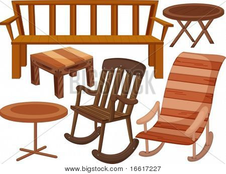 an illustration of various timeber chairs and tables