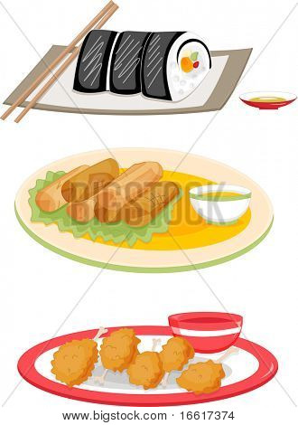 an illustration of assorted food