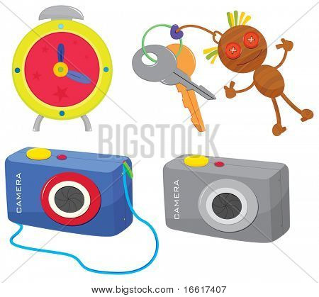 an illustration of a clock, keys and two cameras