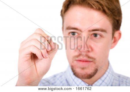 Business Man Writing On Screen
