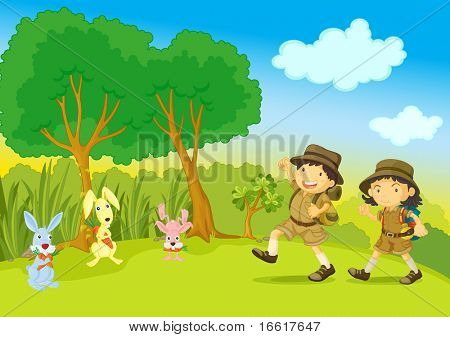 an illustration of a boy and girl scout walking through the bush