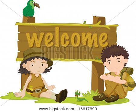 an illustration of a boy and girl next to a welcome sign