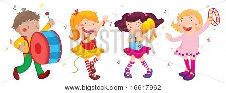 an illustration of children singing and dancing