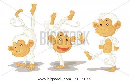 an illustration of three monkeys performing