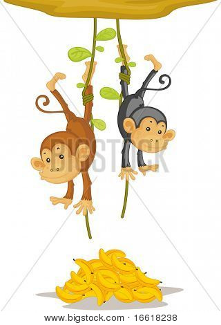 an illustration of two monkeys caught stealing