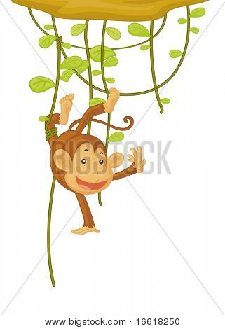 an illustration of a monkey caught by his foot