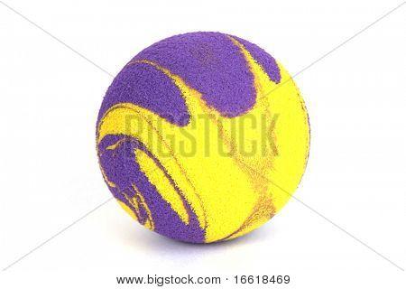 studio shot of a bright rubber ball