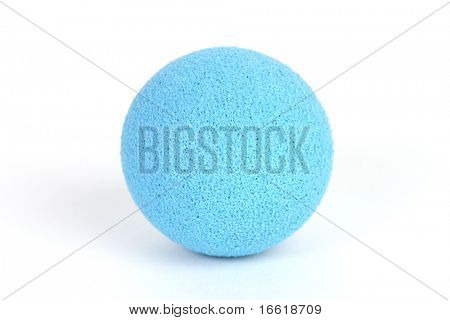 a studio photo of a colored ball light blue