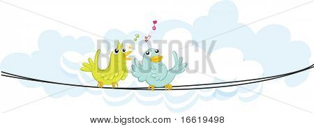 illustration of two birds on a wire