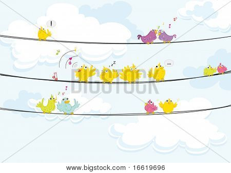 illustration of birds singing while perched on a wire