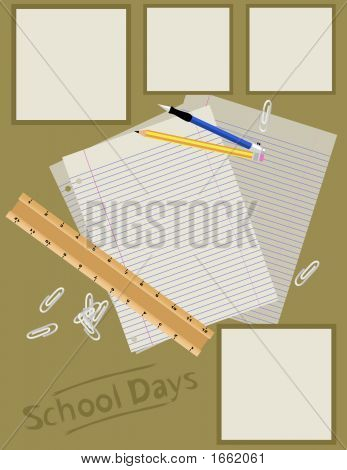 Scrapbook Page Layout - School Days
