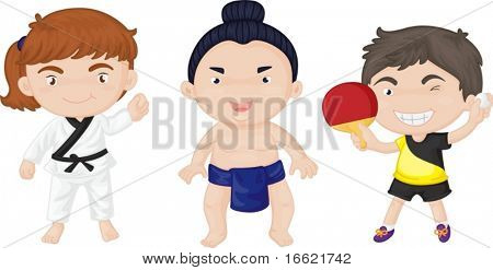 illustration of kids playing, different sports