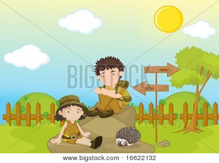 garden park illustration scene with scouts