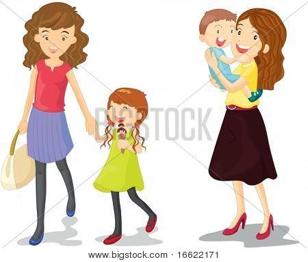 Illustration der Kinder mit Mumie