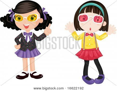 illustration of girls wearing eyeglasses