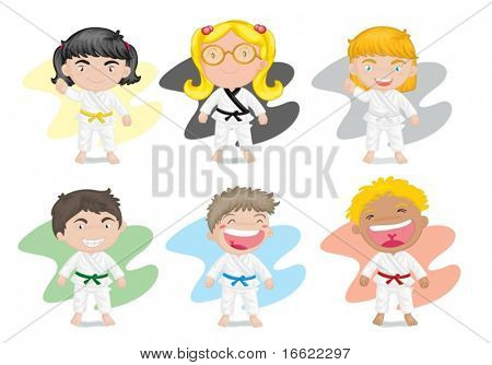 illustration of six kids playing kung fu karate