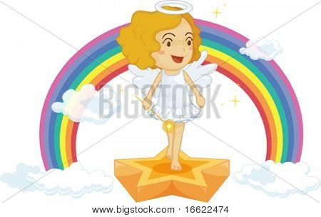 illustration of fairy on rainbow background