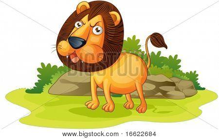 illustration of lion on white