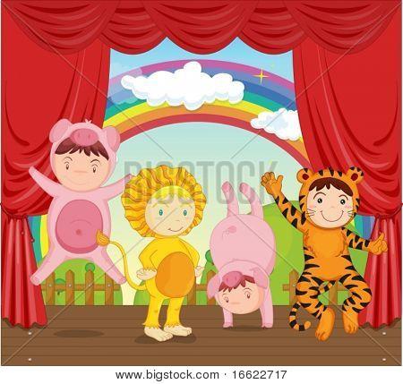 illustration of kids in animal dressup