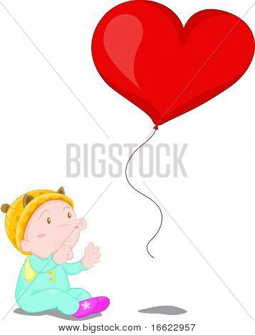Illustration of kid with heart shaped red balloon