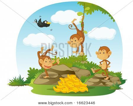 illustration of three monkeys and bananas