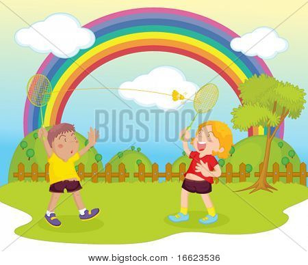 illustration of kids playing badminton