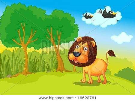 Illustration of lion in the jungle