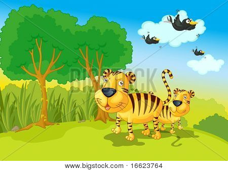 Illustration of two tigers in the jungle