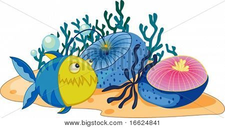 Anglerfish swimming past aquatic plants