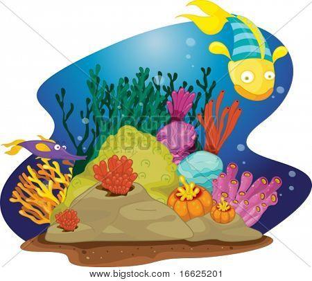 Fische schwimmen Vergangenheit Algen