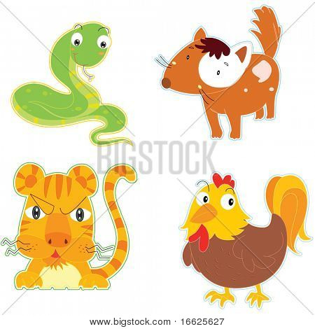 mixed animals (vector available in portfolio)