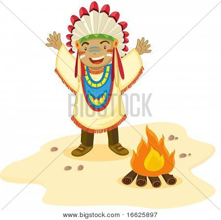 Indian and fire (vector version in portfolio)