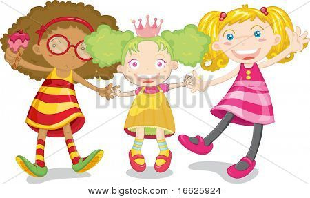 three cute kids (vector version in portfolio)