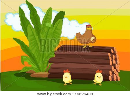 chicken on logs (vector illustration available in portfolio)