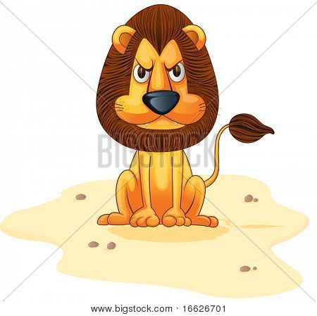 lion on sand (vector illustration also available in portfolio)