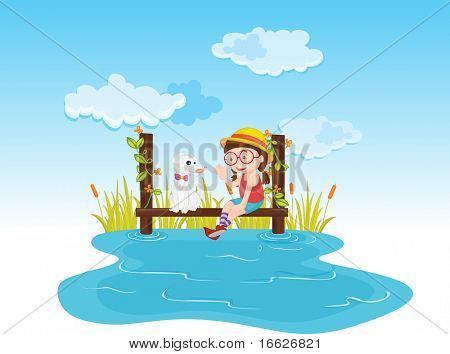 girl near pond (vector illustration available in portfolio)