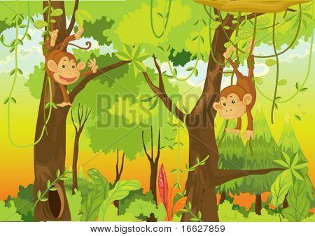 Ilustración de un mono de dibujos animados en blanco