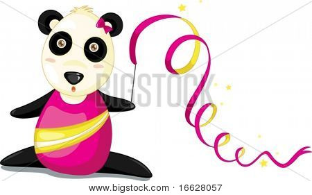 Illustration of  a cartoon panda on white