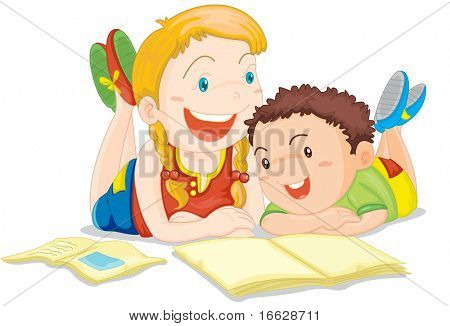 Illustration of  a girl and boy on white (vector available in portfolio)