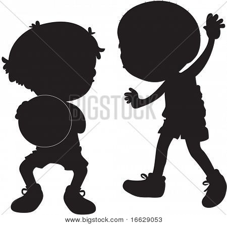 Illustration of  a two kids on white (vector available in portfolio)