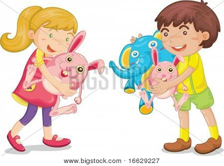 Illustration of  a kids with animal toys on white