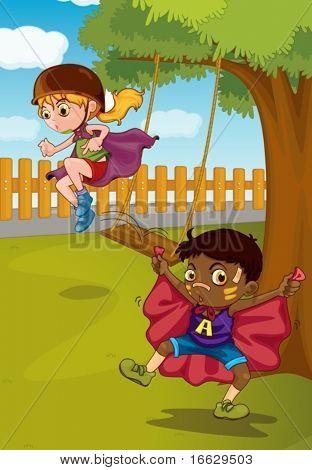 illustration of kids playing in garden