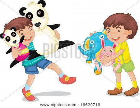 Ilustración de un niño con juguetes del animal en blanco - vector EPS de esta imagen también está disponible en mi por
