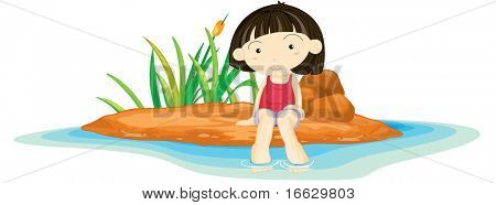 Illustration of  a girl sitting on island - vector EPS of this image also available in my portfolio