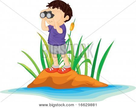 Illustration of  boy on island  - vector EPS of this image also available in my portfolio