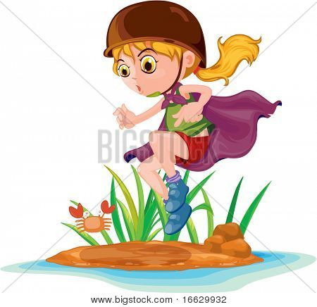 Illustration of  a girl with tray on white - vector EPS of this image also available in my portfolio